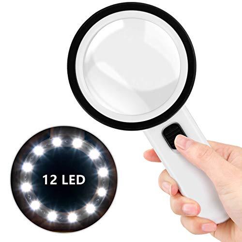Lupe mit Licht, Mture Lupe mit 12 Led Licht 30X Handlupe Beleuchtet, Batteriebetriebene Vergrößerungsglas mit Doppelglas Linse für Kleingedruckten, Prüfen, Schmuck, Handwerk, Senioren Lesebuch