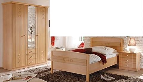 2020.4004: Schlafzimmer - Seniorenzimmer - Schlafzimmer - Buche dekor - bestehend aus Nachtkonsole, Komfortbett und Kleiderschrank