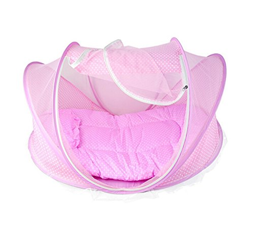 LAAT Portable Krippen Moskitonetz Baby Reisebett Insektenschutz Portable Baby Faltbares Infant Beach Zelt mit kleinen Matratze Blau (2)