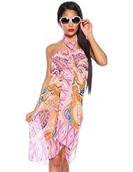 Strandtuch / Strandkleid / Sarong / Paero in verschiedenen Design Einheitsgröße (pink13220)