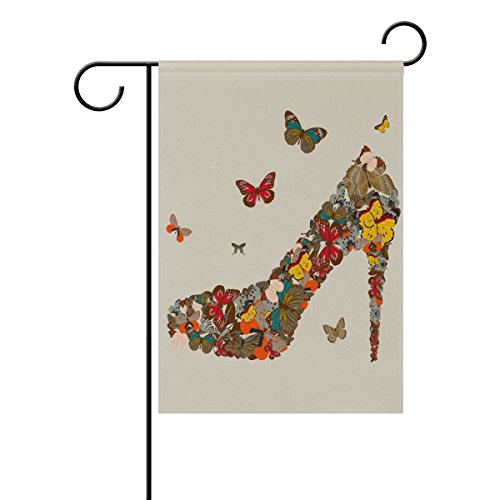 Butterfly Outdoor-dekor (bennigiry High Heel Schmetterling Polyester Garten Flagge Banner 30,5 x 45,7 cm, Seasonal Garten Flagge Fahne Deko für Draußen für Hochzeit, Gesponnenes Polyester, mehrfarbig, 28x40(in))