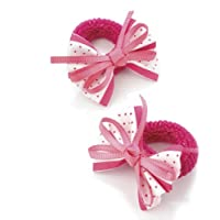 2 x 5.5cm Fuschia & White Polka Dot Design Bow