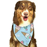 rwwrewre Hundehalsbänder Hunde Halstuch,Sweet Icecream Pet Dog Bandanas Triangle Bib Scarf Accessories for Dogs, Cats, Pets Animals,Soft Head Scarfs Accessories Pet bib Pet Supplies