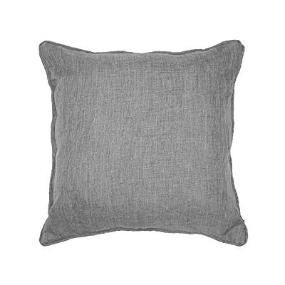 DOUCEUR D'INTERIEUR 40 x 40 cm Chambray Uni Newton Cushion, Gris Grey - low-cost UK light shop.