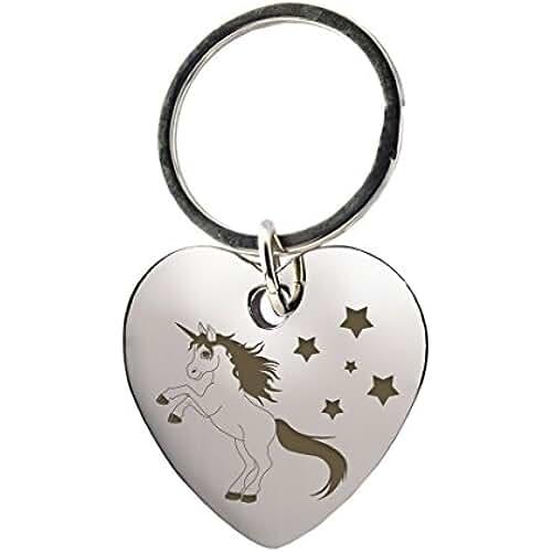 ofertas para el dia de la madre Llavero corazón con la inscripción un unicornio y estrellas–Cromo–Regalo–Unicornio–para niña–La Freundin–para el Día de la Madre o como regalo de Navidad