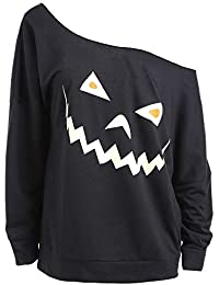 Womens Halloween Pullover LSAltd Damen Off Schulter Langarm Sweatshirt Ghost Print Batwing Sweatshirt Baggy Casual Top T-Shirt Größe S-XL