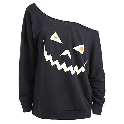 VRTUR Damen Halloween Devil Pumpkin Taro Print Long Sleeve Sweatshirt Blouse Shirttop Langen Ärmeln T-Shirt Top(S,Schwarz)