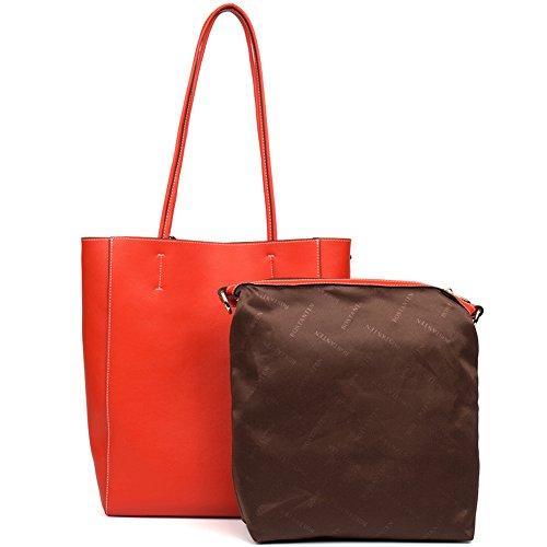 BOSTANTEN Vera Pelle Borsa Donna Sacchetta Tote a Spalla Manico Shoulderbag Top-Handle rosso