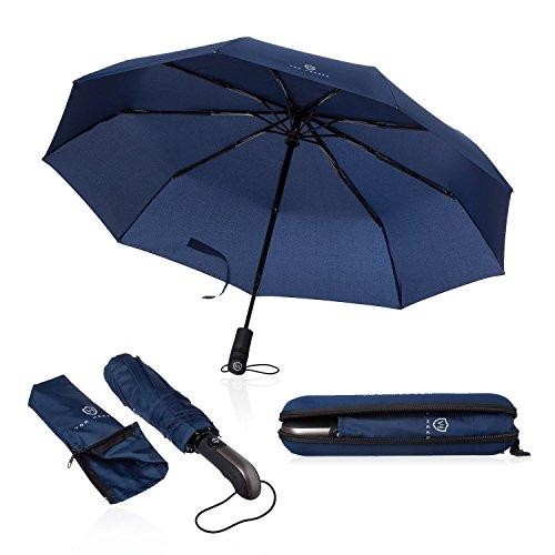 Regenschirm Taschenschirm - VON HEESEN - sturmfest bis 140 km/h - inkl. Schirm-Tasche & Reise-Etui - Auf-Zu-Automatik, klein, leicht & kompakt, Teflon-Beschichtung, windsicher, stabil (Blau)
