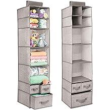 mDesign Organizadores de armarios colgantes - Juego de 2 estanterías de tela con baldas y cajones