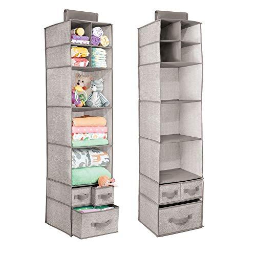 mDesign Organizadores de armarios colgantes - Juego de 2 estanterías de tela con baldas y cajones – Ideal para ropa y accesorios de bebé, para la habitación infantil o la entrada – Color gris