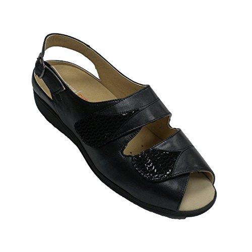 Sandalias Velcro Mujer Ancho Especial Plantillas ortopérdicas Doctor Cutillas en Negro Talla 40