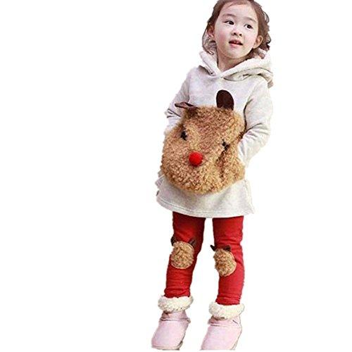 3-8 Jahr Kleinkind Kinder Kleidung Set, DoraMe Baby Mädchen Plüsch Bär Warme Winter Langarm Hoodie Sweatshirt + Hosen Casual Outfit Kapuzen Pullover Set (Grau, 8 (Disney Halloween Outfits)