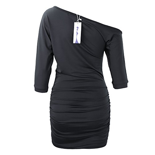 Anxihanee-Women-Sexy-Off-Shoulder-Short-Sleeve-Mini-Pleated-Dress