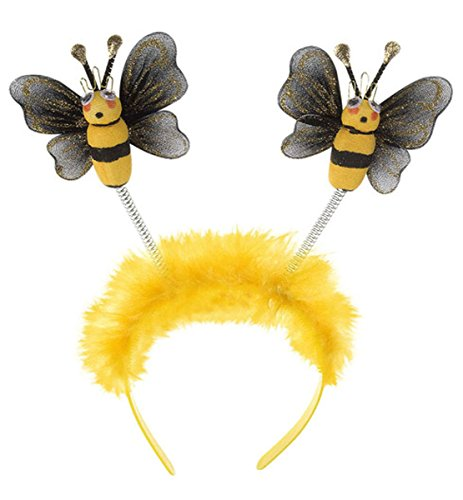 Ladies Bumble Bee Head Boppers Headband Children's Adult Fancy Dress (Bumble Bee Kostüm Erwachsene)