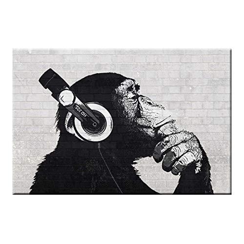 Wsxwga Tier AFFE Leinwand Gedruckt Wandmalerei Moderne Lustige Denken AFFE Mit Kopfhörer Wandkunst für Wohnzimmer 50 * 70 cm