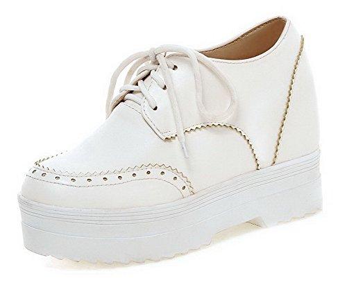 AllhqFashion Damen Pu Leder Rein Schnüren Rund Zehe Hoher Absatz Pumps Schuhe Weiß