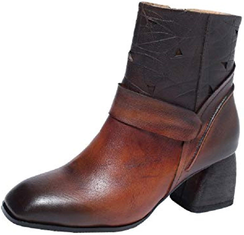 ZHRUI Couleur Mixte Femme Bottes Bloc Cuir zippé Vintage Martin Chaussures Chaussures Martin (coloré : Noir, Taille : EU 40) c78f20