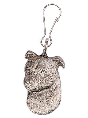 Staffordshire Bull Terrier (Kopf) Hergestellt in U.K. Kunstvolle Hunde- Reißverschlußanhänger (Zipper pull) Sammlung