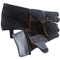 RFVBNM guantes de Trabajo de Soldadura de Piel de Vaca soldada Barbacoa Guantes, negro/40cm
