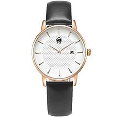 AIBI Damen Schwarz Leder Armband Edelstahl Datum Uhr Rose Gold AB52601-5