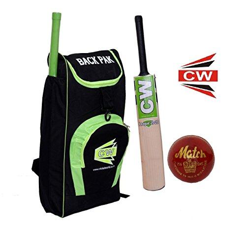 CW T20 Cricket-Set, rechte Hand, für Jungen, Jugendliche, Teenager und Senioren (Duffel-Set, Lederball, Kaschmir-Weidenschläger), Mehrfarbig, Size 4 Ideal for 8-9 Yr Child