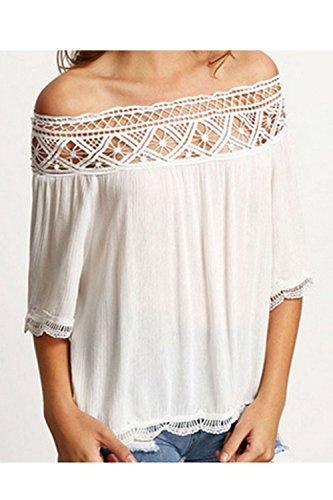 Frauen Elegant Schulter Ab Spitzen Patchwork - Sommer T Hemdblusen Tops White