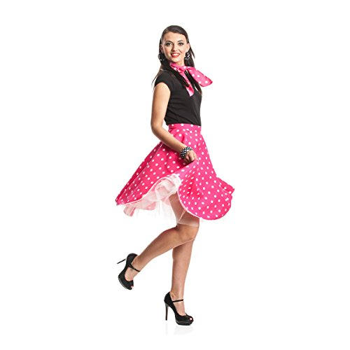 'n Roll Kostüm für Damen mit Teller-Rock knielang und Halstuch im 50er Jahre Stil, Größe: 36 - 44, Farbe: pink / rosa / fuchsia, weiße Polka Dots, Rockabilly Outfit für Karneval, Fasching, Halloween - Damen Rockn Roll Kostüm (Rock And Roll Kostüme)