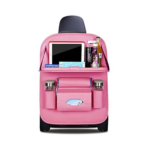 Rosa Tasche Organizer (Ergocar Auto Organizer Rückenlehnenschutz Luxus Autositzschutz aus PU-Leder mit faltbarem Tablethalter wasserdicht Rückenlehnenschutz Rückenlehnen-Tasche für Kinder (Rosa - 1 Pack))
