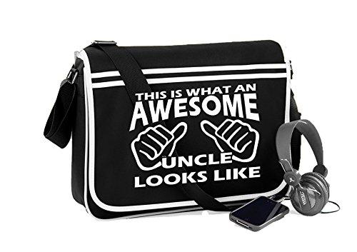 Awesome Uncle-Unisex-lustige Sprüche Neuheit Retro Messenger Bag- Schwarz