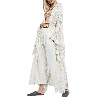 Ai.Moichien Women Summer White Lace Maxi Shawl,Swim Sexy White Crochet Lace Cover Up, Bohemia Solid Color Swimuit Cover UPS Beach Cardigan …