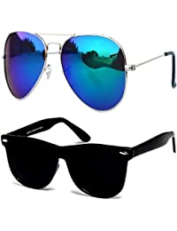 Sun Glasses For Boys Stylish Combo Mens/Womens Goggles (CM-Blue-Mercry-Aviator-Black-Wayf) - With 2 Sunglasses...