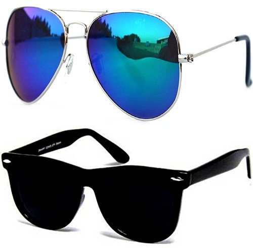 Sun glasses for Boys Stylish Combo Mens/Womens Goggles (CM-Blue-Mercry-Aviator-Black-Wayf) - With 2 Sunglasses Box  available at amazon for Rs.349