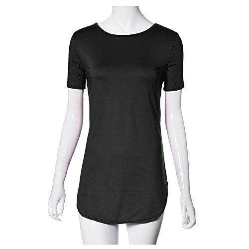 Sannysis Frau Tops Kurzarm Beiläufig T-Shirt Party Minikleid schwarz