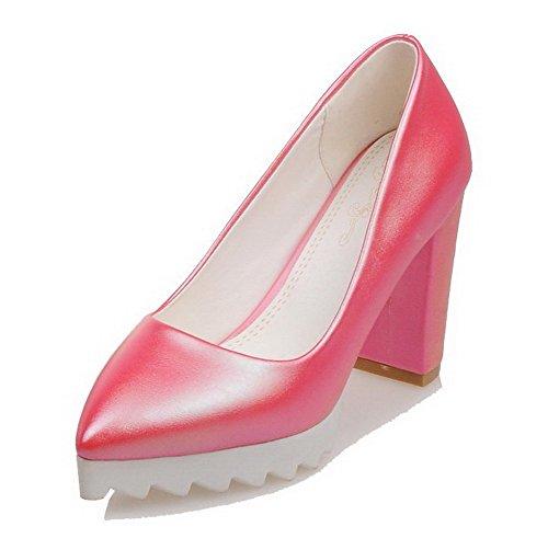 VogueZone009 Donna Puro Luccichio Tacco Alto Scarpe A Punta Punta Chiusa Tirare Ballerine Rose