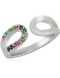 Fasherati mehrfarbiger österreichischer Kristall verzierter weißer Band Ring für Mädchen
