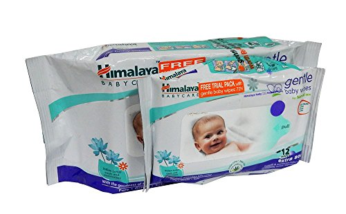 Himalaya Herbals Gentle Baby Wipes 72 Pieces with Free 12 Pieces Wipes
