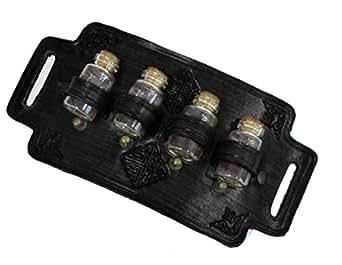 Porte potion rogue en cuir noir 4 fioles steampunk gothique médiéval, larps gn