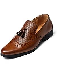 Sneerrt Zapatos de Vestir para Hombres Zapatos con borlas clásicos Oxford Mocasines de Cuero Pisos Blandos