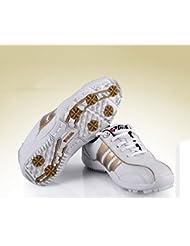 PGM Lace Up Zapatos de golf con clavos de los niños calzado ----- Micro Cable de piel, white-gold, 35