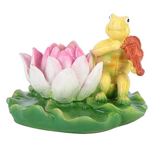 Duokon Schildkröte Fischteich Springbrunnen Lotus Blume Ornament Schwimmbad Aquarium schwimmende Tier Badewanne Garten Dekor Figur gelbe Schildkröte Geige Spielen (Schildkröte Garten Dekor)