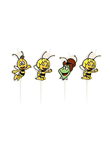 4 Mini-Figurenkerzen Biene Maja