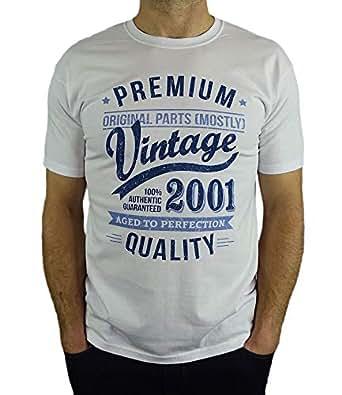 2001 Vintage Year - Aged To Perfection - 18 Geburtstag geschenk T-Shirt für Junge Weiß Blau 3XL