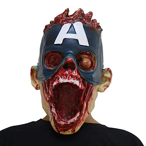 Halloween-Maske, Halloween-Kostüm Horror-Kapitän Latex-Maske, Horror-Gespenst Beängstigend, Prank Maske Gesicht Beängstigende Party, Bar-Requisiten, Maskerade