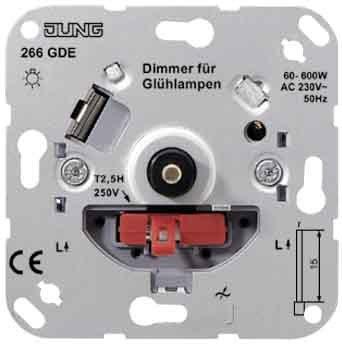 Jung 266GDE Drehdimmer mit Druck-Wechselschalter von Jung - Lampenhans.de