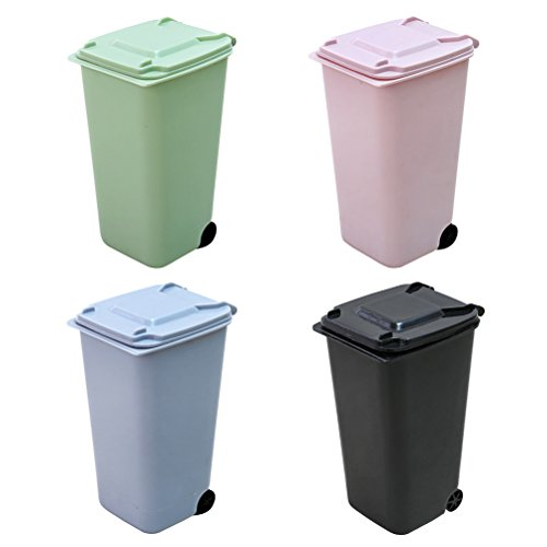 TOYMYTOY 4 Stück Mini Mülleimer Set, Desktop Papierkorb mit Deckel für Badezimmer, Küchen, Home Offices, Dorm Zimmer -