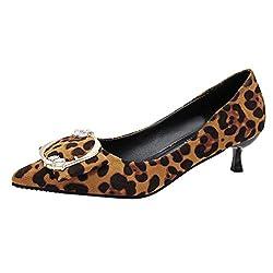 Mymyguoe Leopard Bedruckt Pumps Slipper High Heels Bequeme Schnalle Spitze Zehen Flach Mund Arbeit Retro Schuhe Stiletto Hochzeit Kleid Schuhe Office Work Heels Pfennigabsatz Slip-on Loaferschuhe