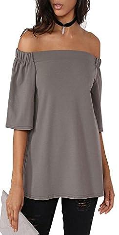 ALAIX Damen Schulterfreie Long-Shirt Bluse mit 3/4 Ärmel Grau-S (Kostüm Farbige Kontakte Günstige)