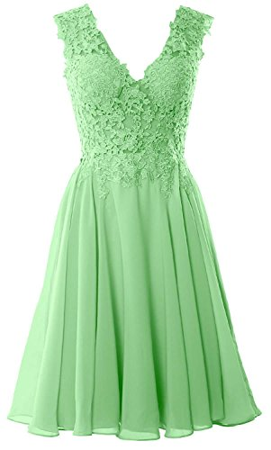 MACloth Gorgeous V Neck Cocktail Dress Short Lace Prom Homecoming Formal Gown Menthe