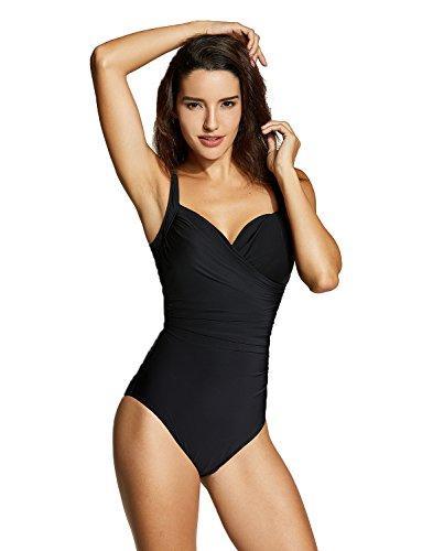 Delimira Damen Einteiler Bademode - Schlankheits Badeanzug Mit Bügel Schwarz 42
